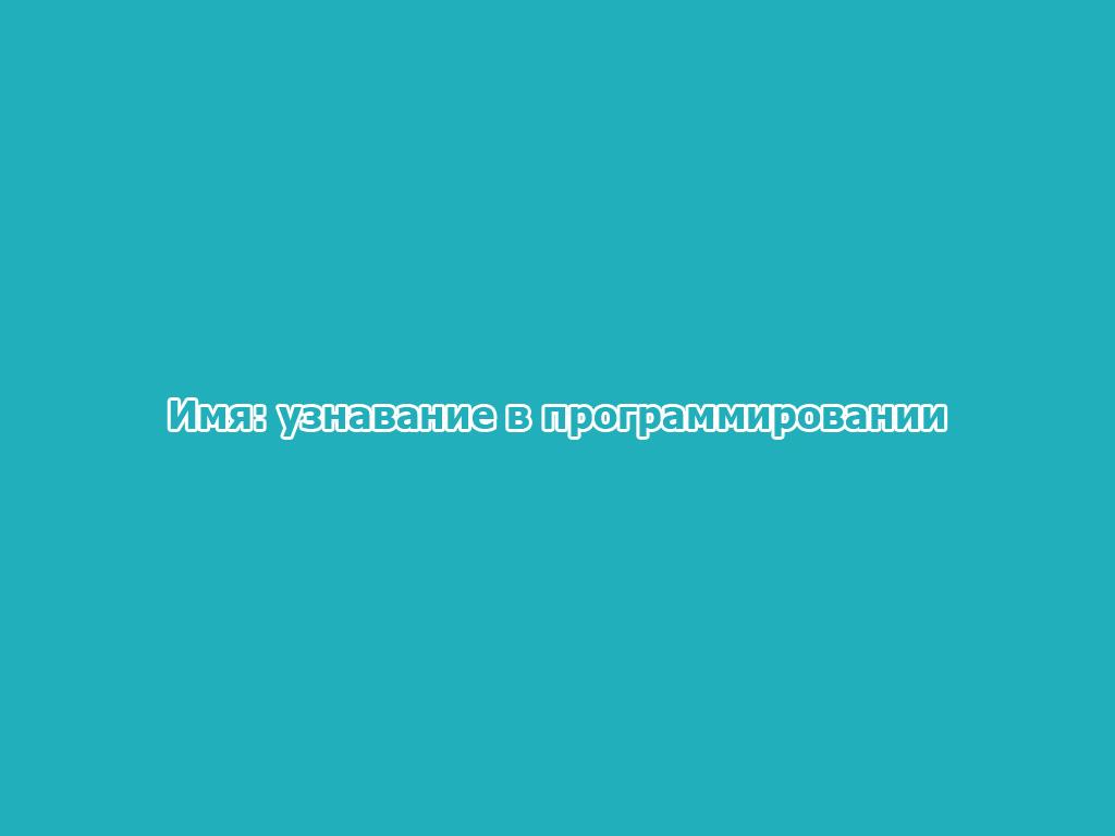 Имя: узнавание в программировании