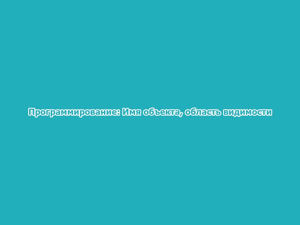 Программирование: Имя объекта, область видимости