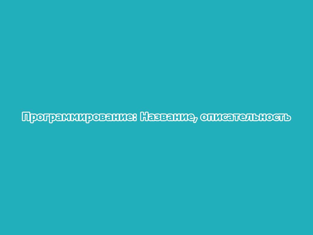 Программирование: Название, описательность
