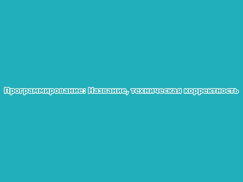 Программирование: Название, техническая корректность